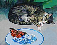 Cat and American Painted Lady | George Donald