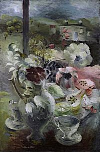 Still Life with Jug of Flowers and House Beyond | Mary Fedden