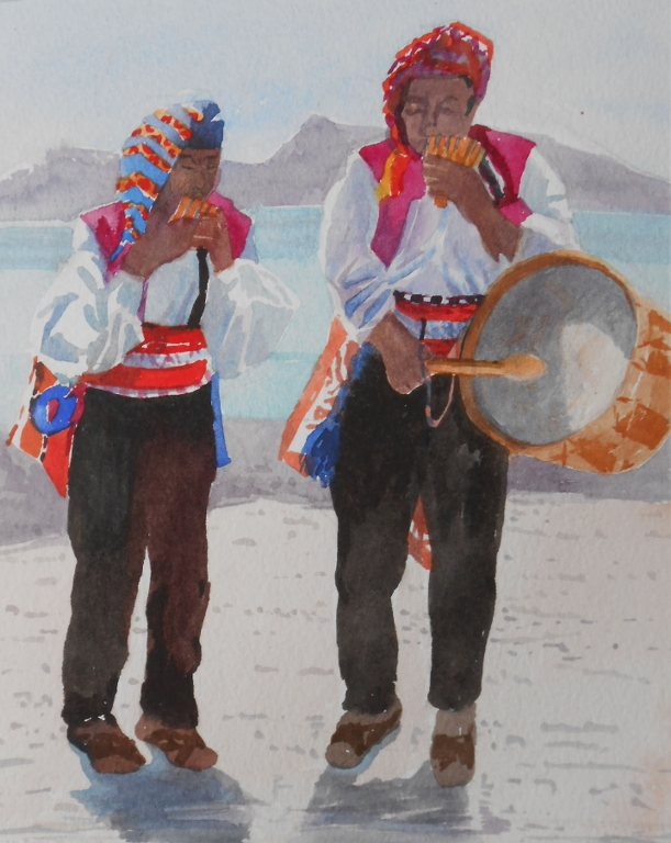 Two Musicians on Taquile Island | Olwen Jones
